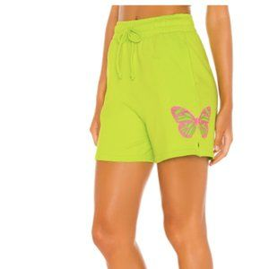 Green Sweat Short with Pink butterflies NWT